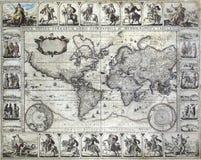 Uitstekende kaart van de wereld Royalty-vrije Stock Foto