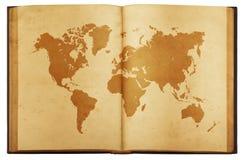 Uitstekende kaart van de wereld op Oud die boek op witte achtergrond wordt geïsoleerd Stock Afbeelding