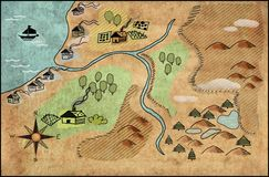 Uitstekende kaart van een kustgebied Stock Foto's