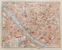Uitstekende kaart van Florence Stock Foto