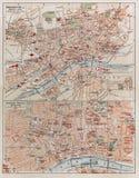 Uitstekende kaart van Frankfurt Stock Foto's