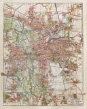 Uitstekende kaart van Leipzig Stock Foto's
