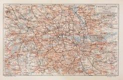 Uitstekende kaart van Londen en omgeving Stock Afbeelding