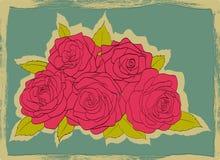 Uitstekende kaart verzwakte randen. Boeket van roze rozen met bladeren op een blauwe achtergrond Royalty-vrije Stock Fotografie