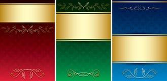 Uitstekende kaarten met gouden decoratief ornament Stock Foto