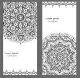 Uitstekende kaartenmalplaatjes met mandalaornamenten Royalty-vrije Stock Fotografie
