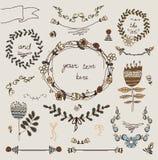 Uitstekende kaders en handdrawn bloemen Stock Afbeeldingen