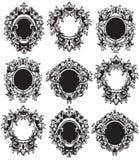 Uitstekende Kaders geplaatst Vector Klassieke rijke gesierde gesneden decors Barokke verfijnde ingewikkelde ontwerpen royalty-vrije illustratie