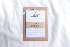 Uitstekende kalender 2018 met de hand gemaakt op witte achtergrond Royalty-vrije Stock Foto