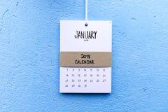 Uitstekende kalender met de hand gemaakte 2018 Royalty-vrije Stock Foto