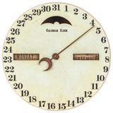 Uitstekende kalenderklok met dag van de maandaanwijzing Stock Foto's