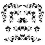 Uitstekende kalligrafische vignetten met roze knoppen. royalty-vrije illustratie