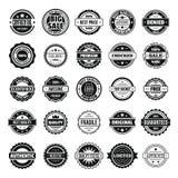 Uitstekende kentekens en geplaatste etikettenpictogrammen, eenvoudige stijl stock illustratie
