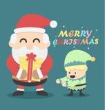 Uitstekende Kerstkaart de Kerstman en Kerstmiself Stock Foto