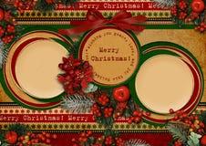 Uitstekende Kerstkaart met cirkelframe Royalty-vrije Stock Fotografie