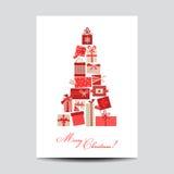 Uitstekende Kerstkaart met Kerstmisgiften Royalty-vrije Stock Fotografie