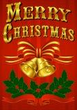 Uitstekende Kerstkaart met Klokken, Lint & Hulst Stock Foto