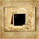Uitstekende Kerstkaart met polaroidframe Stock Afbeeldingen