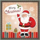 Uitstekende Kerstkaart met Santa Claus Stock Afbeelding