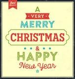 Uitstekende Kerstmis Typografische Achtergrond Royalty-vrije Stock Fotografie