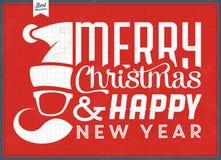 Uitstekende Kerstmis Typografische Achtergrond - Retro Ontwerp Stock Afbeeldingen