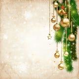 Uitstekende Kerstmis verfraait tegen oude document textuurachtergrond Stock Afbeeldingen