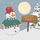 Uitstekende Kerstmisaffiche met sneeuwman Royalty-vrije Stock Fotografie
