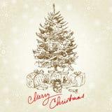 Uitstekende Kerstmisboom Stock Afbeelding
