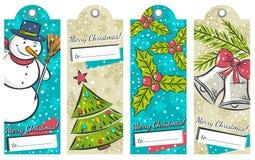 Uitstekende Kerstmisetiketten met sneeuwman, boom, klokken Stock Foto's