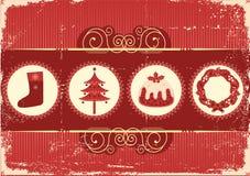 Uitstekende Kerstmiskaart als achtergrond voor vakantie Stock Fotografie