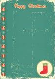 Uitstekende Kerstmiskaart met huidige sok voor tekst vector illustratie