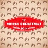 Uitstekende Kerstmiskaart met rood etiket Stock Afbeeldingen