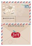 Uitstekende Kerstmisprentbriefkaar en Zegels Stock Afbeelding