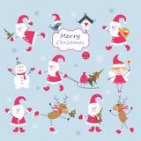 Uitstekende Kerstmisreeks Stock Afbeeldingen