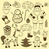 Uitstekende Kerstmisreeks, oud document Royalty-vrije Stock Fotografie