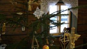 Uitstekende Kerstmissamenstelling, mand, denneappels, noten en okkernoten stock video