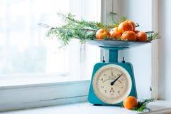 Uitstekende keukenschalen Royalty-vrije Stock Afbeeldingen
