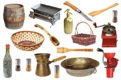 Uitstekende keukenvoorwerpen Royalty-vrije Stock Afbeeldingen