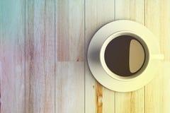 Uitstekende kleur van koffiekop op houten Royalty-vrije Stock Afbeelding