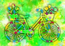 Uitstekende kleurrijke fiets met bloemen Stock Foto's