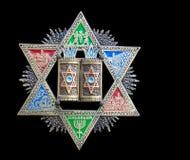 Uitstekende kleurrijke Jodenster (Jodenster) royalty-vrije stock afbeeldingen