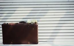 Uitstekende koffer op de bank Royalty-vrije Stock Afbeeldingen