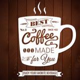 Uitstekende koffieaffiche op een donkere houten achtergrond. Stock Afbeeldingen