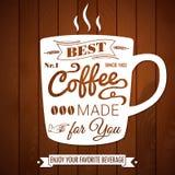 Uitstekende koffieaffiche op een donkere houten achtergrond. Royalty-vrije Stock Afbeeldingen