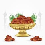 Uitstekende kom van data met palmbladen op witte achtergrond Ramadan Iftar-voedsel 3d vectorillustratie Stock Illustratie