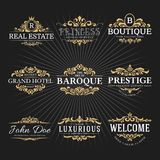 Uitstekende Koninklijk bloeit Kader Logo Decorative Design vector illustratie