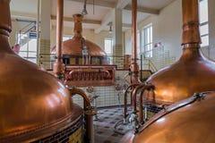 Uitstekende koperketel - brouwerij in België royalty-vrije stock foto