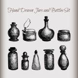 Uitstekende kruiken en flessen stock illustratie