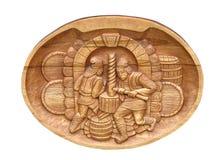 Uitstekende kunst houten hulp die over wit wordt geïsoleerde Stock Afbeelding