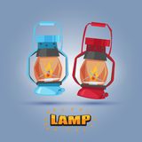 Uitstekende Lamp met brievenontwerp - vector illustratie